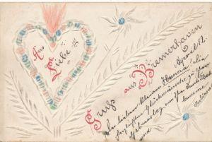 Handgemacht Relief Ak Bremerhaven, Aus Liebe, Herz, Blumen