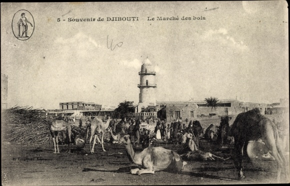 Ak Dschibuti, Le Marché des bois, Holzmarkt, chameaux, Kamele