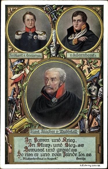 Künstler Ak Gebhard Leberecht von Blücher, Fürst von Wahlstatt, Neidhardt von Gneisenau, Scharnhorst