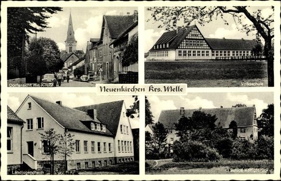 Ak Neuenkirchen Melle Niedersachsen, Volksschule, Landjugendheim, Schloss Königsbrück, Kirche