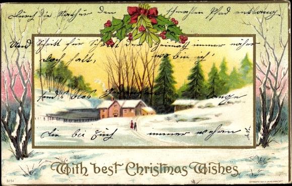 Präge Passepartout Ak Frohe Weihnachten, Christmas Wishes, Winterlandschaft, Stechpalmenzweige
