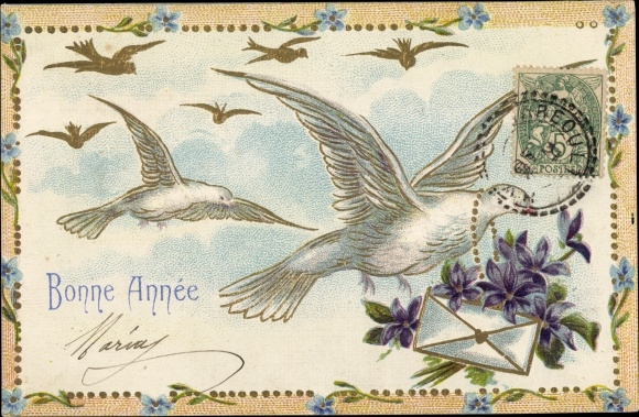 Präge Litho Glückwunsch Neujahr, Bonne Année, Tauben mit Brief, Blumen, Vergissmeinnicht