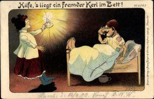 Künstler Litho Wolf, Rudolf, Hilfe, 's liegt ein Fremder Kerl im Bett, Humor, Bruno Bürger 6093