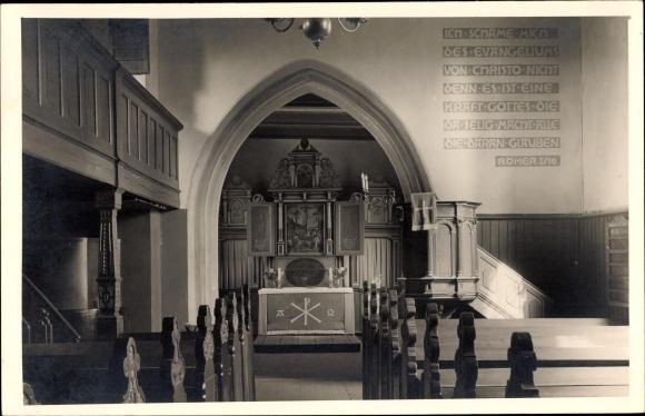 Foto Ak Oldenburg in Niedersachsen, Kirche, Altarraum, Wandinschrift aus der Bibel, Römer I/16