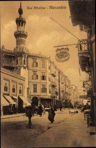 Ak Alexandria Ägypten, Rue Attarine, Straßenpartie