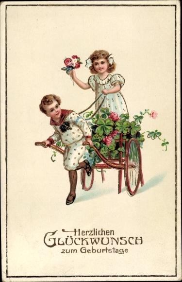 Ak Glückwunsch Geburtstag, Kleeblätter, Kinder, Handkarren, EAS