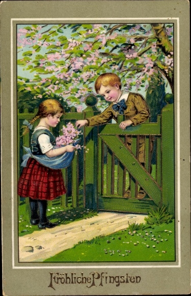 Ak Glückwunsch Pfingsten, Kinder, Garten, Baumblüte