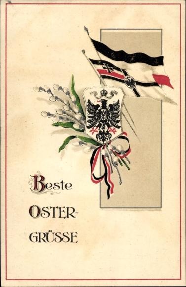 Ak Glückwunsch Ostern, Weidenkätzchen, Wappen, Fahnen, Patriotik Kaiserreich