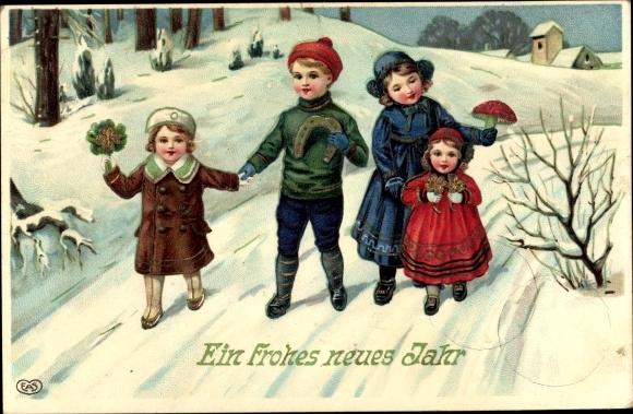 Präge Ak Glückwunsch Neujahr, Kleeblätter, Hufeisen, Fliegenpilz, Kinder, EAS