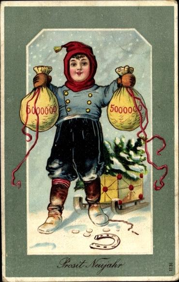 Präge Ak Glückwunsch Neujahr, Geldsäcke, Schlitten, Hufeisen, Tannenbaum