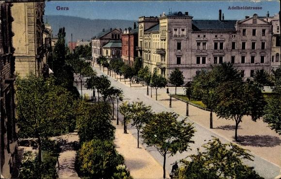 Ak Gera Thüringen, Adelheidstraße, Teilansicht der Stadt
