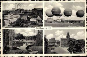 Ak Bitterfeld Sachsen Anhalt, Bahnhof, Ballonwettfliegen, Rosengarten, Marktplatz