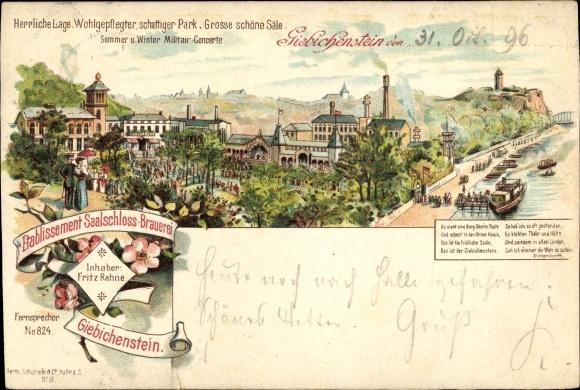 Litho Halle Saale Giebichenstein, Saalschloss Brauerei, Inh. Fritz Rahne