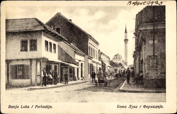 Ak Banja Luka Bosnien, Ferhadija, Straßenpartie, Minarett