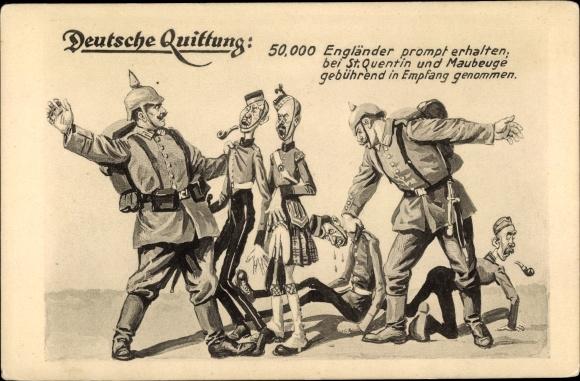 Künstler Ak Deutsche Quittung, Engländer werden verhauen, I. WK, PFB 24