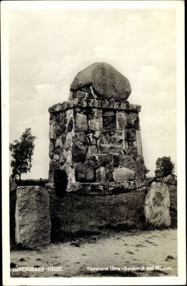 Ak Müden Faßberg Lüneburger Heide, Hermann Löns Denkmal