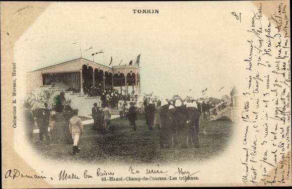 Ak Hanoi Tonkin Vietnam, Champ de Courses, les Tribunes, Pferderennen, Zuschauertribüne