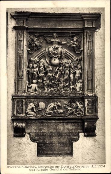 Ak Xanten am Niederrhein, Steinrelief am Dom,das jüngste Gericht darstellend