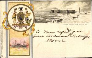Präge Wappen Litho New Brighton Merseyside England, Sands, Ship, Fort Perch Rock