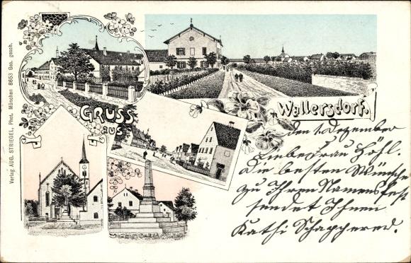 Ak Wallersdorf Niederbayern, Kirche, Denkmal, Straßenpartien