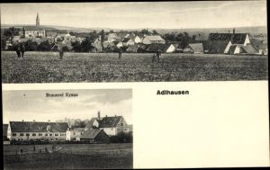Ak Adlhausen Langquaid Niederbayern, Brauerei Kraus, Totalansicht vom Ort