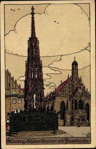 Steindruck Ak Nürnberg in Mittelfranken Bayern, Schöner Brunnen, Frauenkirche