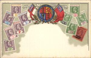 Präge Briefmarken Litho Goldküste, Dieu et mon droit