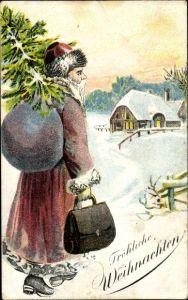 Ak Frohe Weihnachten, Weihnachtsmann, Tanne