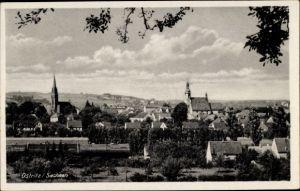 Ak Ostritz der Oberlausitz, Totalansicht vom Ort, Kirchtürme