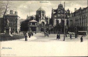 Ak München Bayern, Künstlerhaus, Denkmal, Passanten