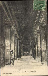 Ak Angkor Wat Kambodscha, Innenansicht der Tempelruinen, Souvenir des Ruines