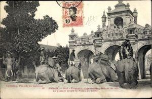 Ak Éléphants s'agenouillant, faisant les lais en passant devant le Palais du Comat, Annam Vietnam