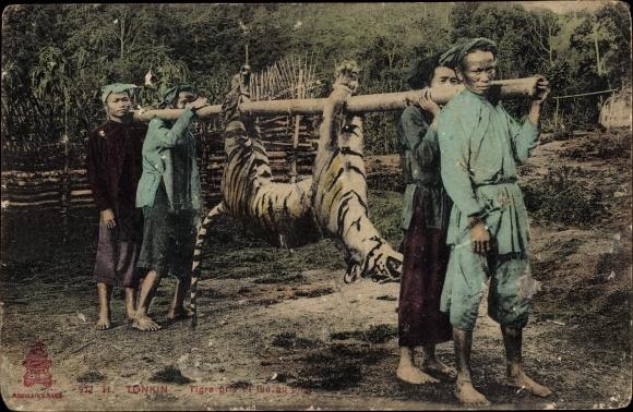 Ak Vietnamesische Jäger mit totem Tiger als Beute