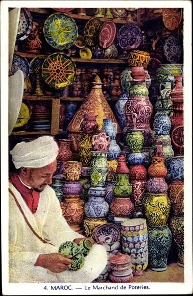 Ak Le Marchand de Poteries, Tonwarenhändler, Maroc Marokko