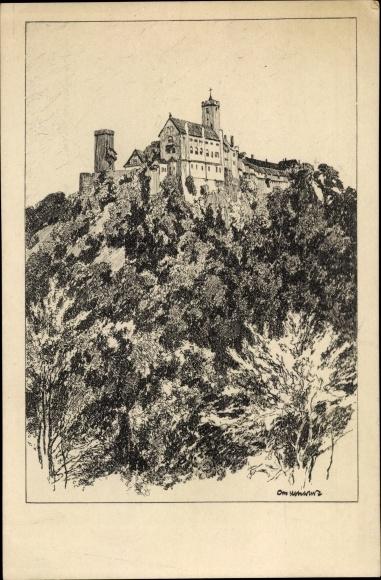 Künstler Ak Ubbelohde, Otto, Die Wartburg von der Eisenacher Burg aus gesehen, No. 3