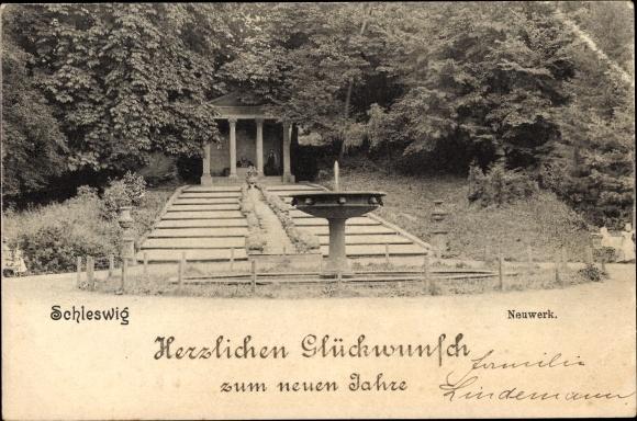 Ak Schleswig in Schleswig Holstein, Neuwerk, Springbrunnen