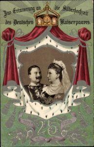 Präge Passepartout Litho Deutsches Kaiserpaar, Wilhelm II., Auguste Viktoria, Silberhochzeit 1906