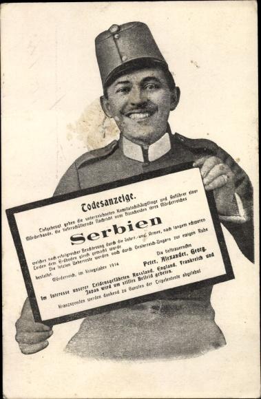 Ak Kuk Soldat, Todesanzeige für Serbien, Propaganda, I. WK
