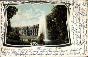 Ak Meiningen in Südthüringen, Erbprinzen Palais, Außenansicht, Garten, Teich, Fontäne, Außenansicht