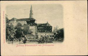 Ak Weesenstein Müglitztal Sachsen, Schloss Weesenstein vom Schlossgarten