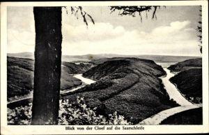 Ak Mettlach im Saarland, Blick von der Cloef auf die Saarschleife