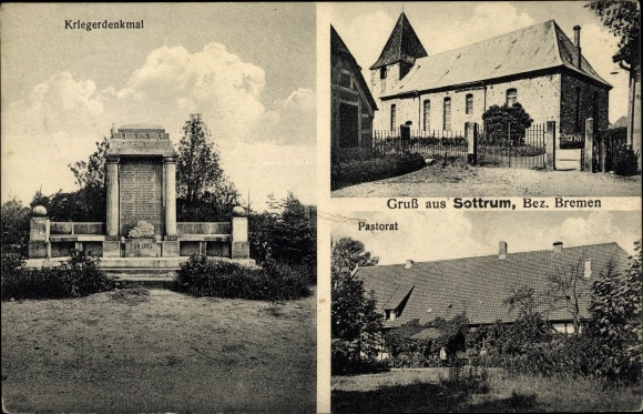 Ak Sottrum in Niedersachsen, Kriegerdenkmal, Kirche, Pastorat