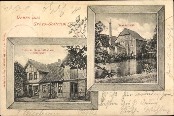 Passepartout Ak Sottrum in Niedersachsen, Geschäftshaus Heinzmann, Wassermühle