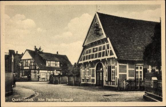 Ak Quakenbrück in Niedersachsen, Alte Fachwerkhäuser