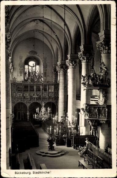 Ak Bückeburg in Schaumburg, Stadtkirche, Innenansicht