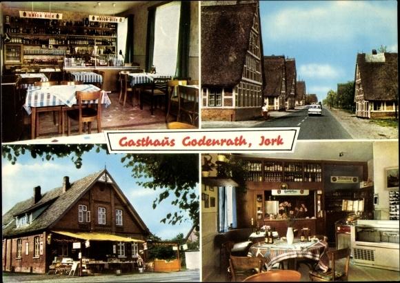Ak Jork in Niedersachsen, Gasthaus Zur fröhlichen Einkehr, Inhaber R. Godenrath, Strassenansicht