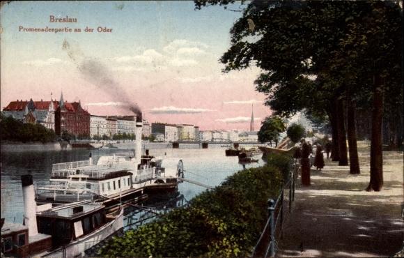 Ak Wrocław Breslau Schlesien, Promenadenpartie an der Oder, Dampfer