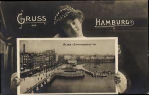 Passepartout Ak Hamburg, Alter Jungfernstieg, Junge Dame, Portrait