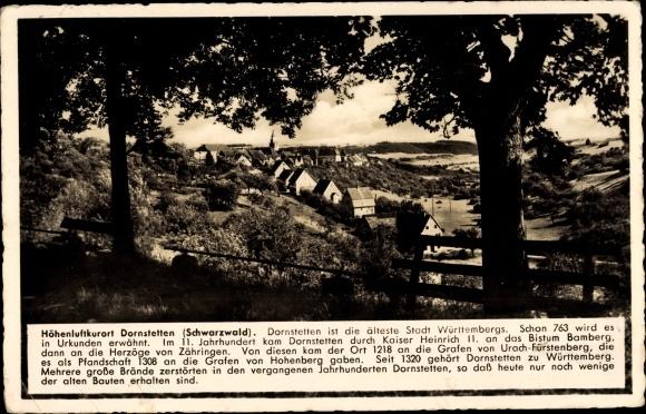 Ak Dornstetten in Baden Württemberg, Panorama vom Ort, Blick vom Waldrand aus, Geschichte d. Ortes