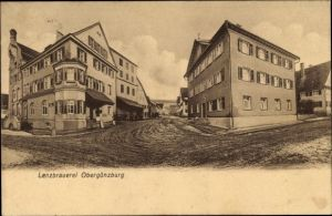 Ak Obergünzburg im Ostallgäu, Lenzbrauerei, Straßenansicht, Gebäude